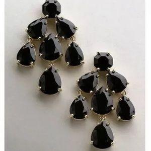 Kate Spade Black Chandelier Earrings w Duster +Tag